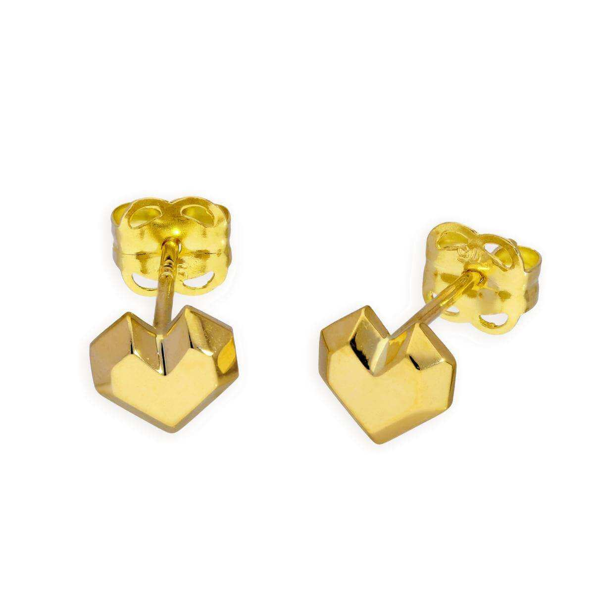 9ct Gold Origami Heart Stud Earrings