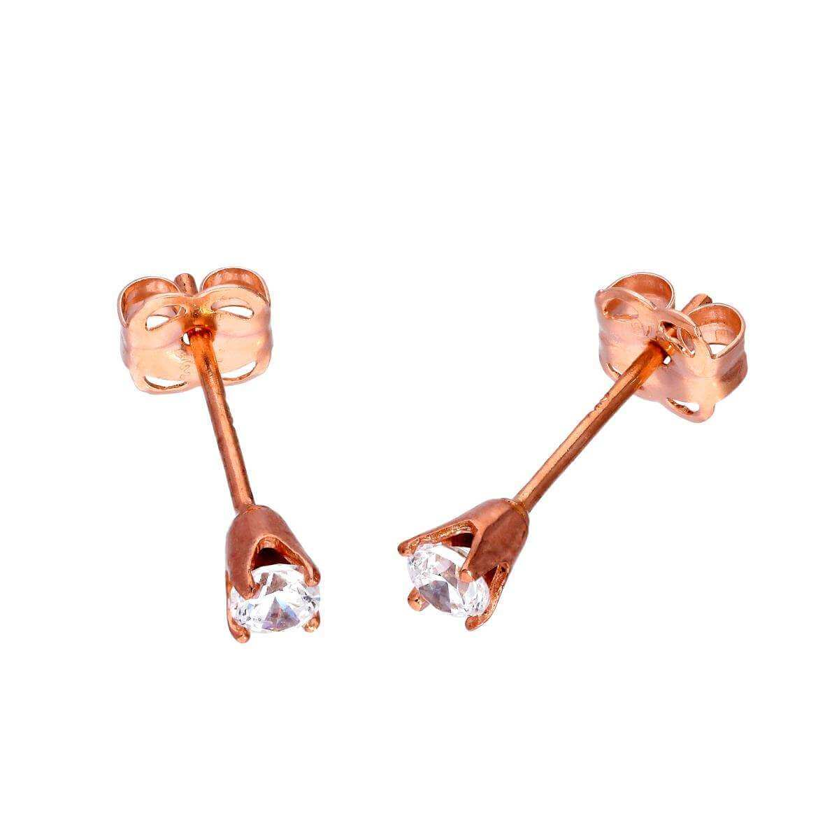 9ct Rose Gold & Clear CZ Crystal Stud Earrings