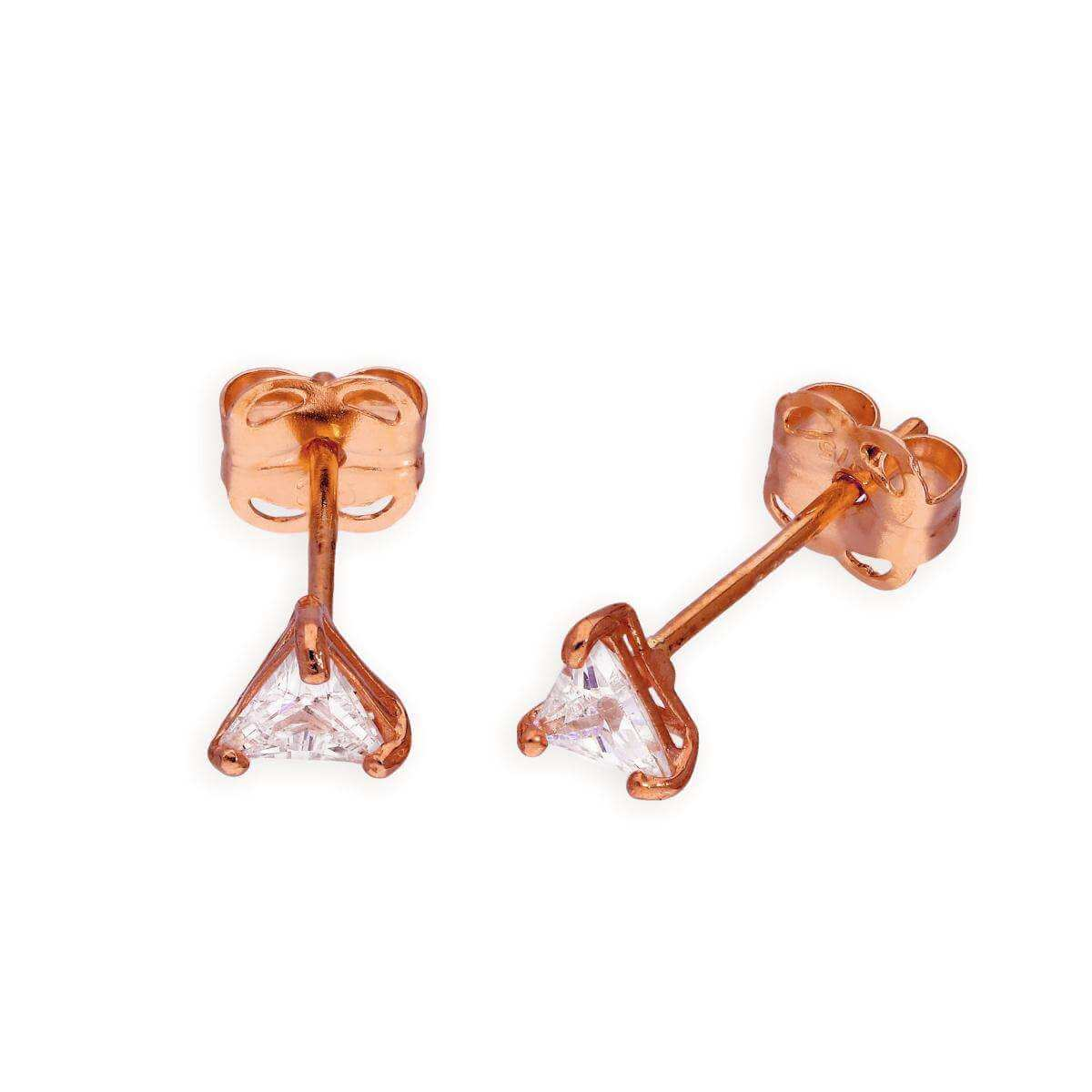 9ct Rose Gold & Clear CZ Crystal Triangle Stud Earrings
