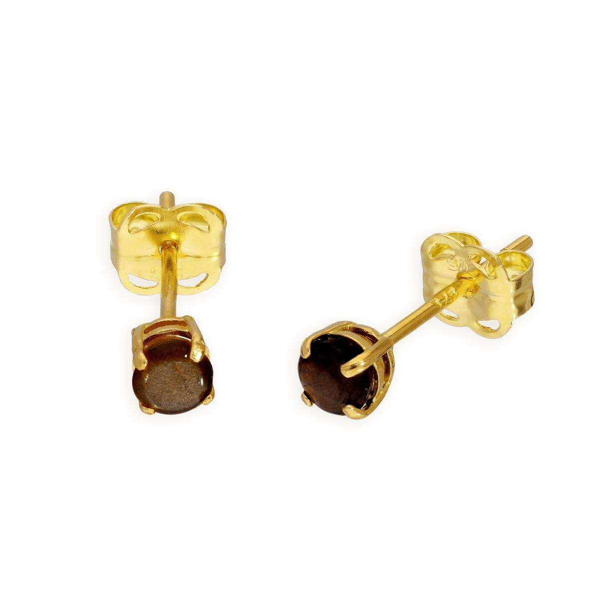 9ct Gold & Amber CZ Crystal Stud Earrings