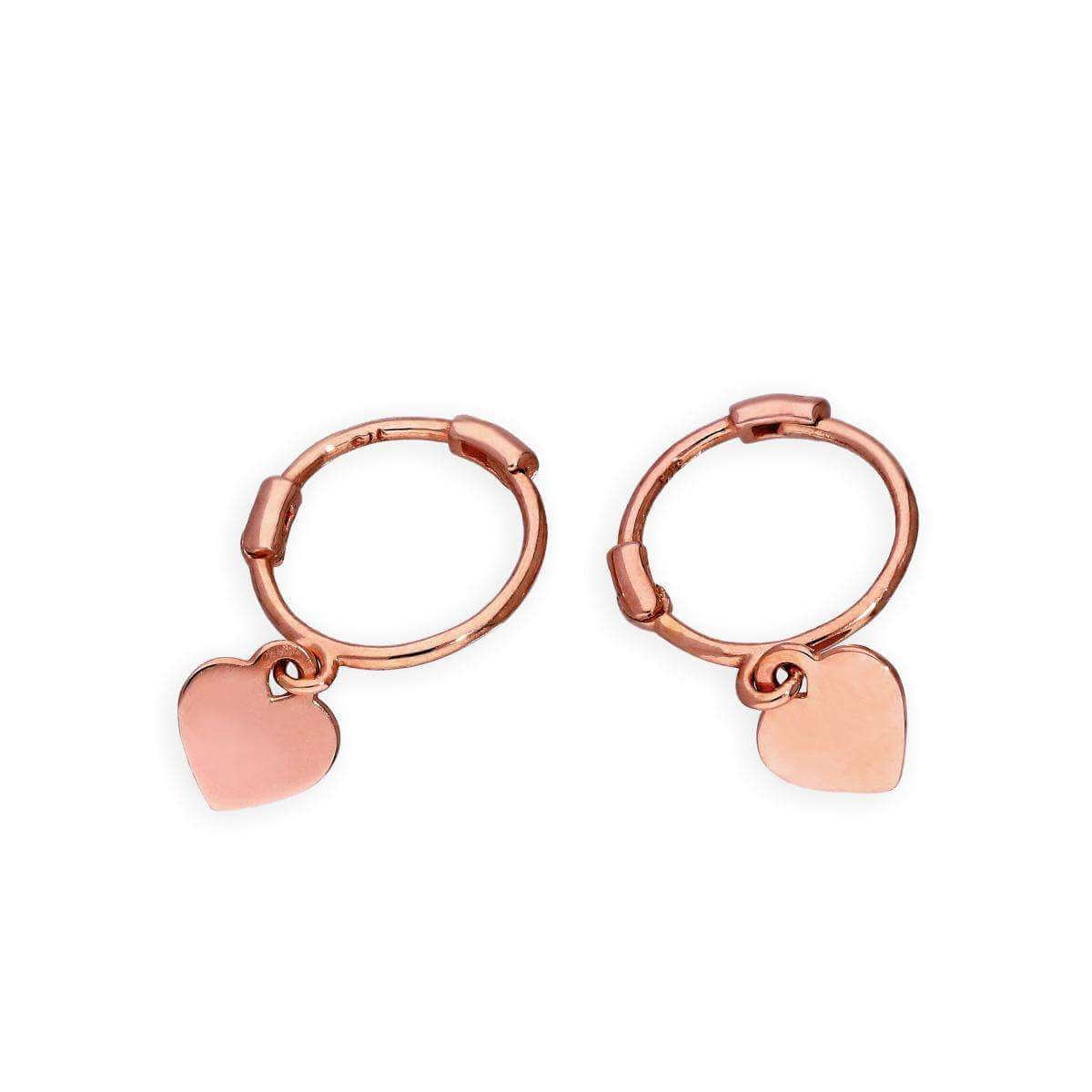 9ct Rose Gold Heart Hoop Earrings
