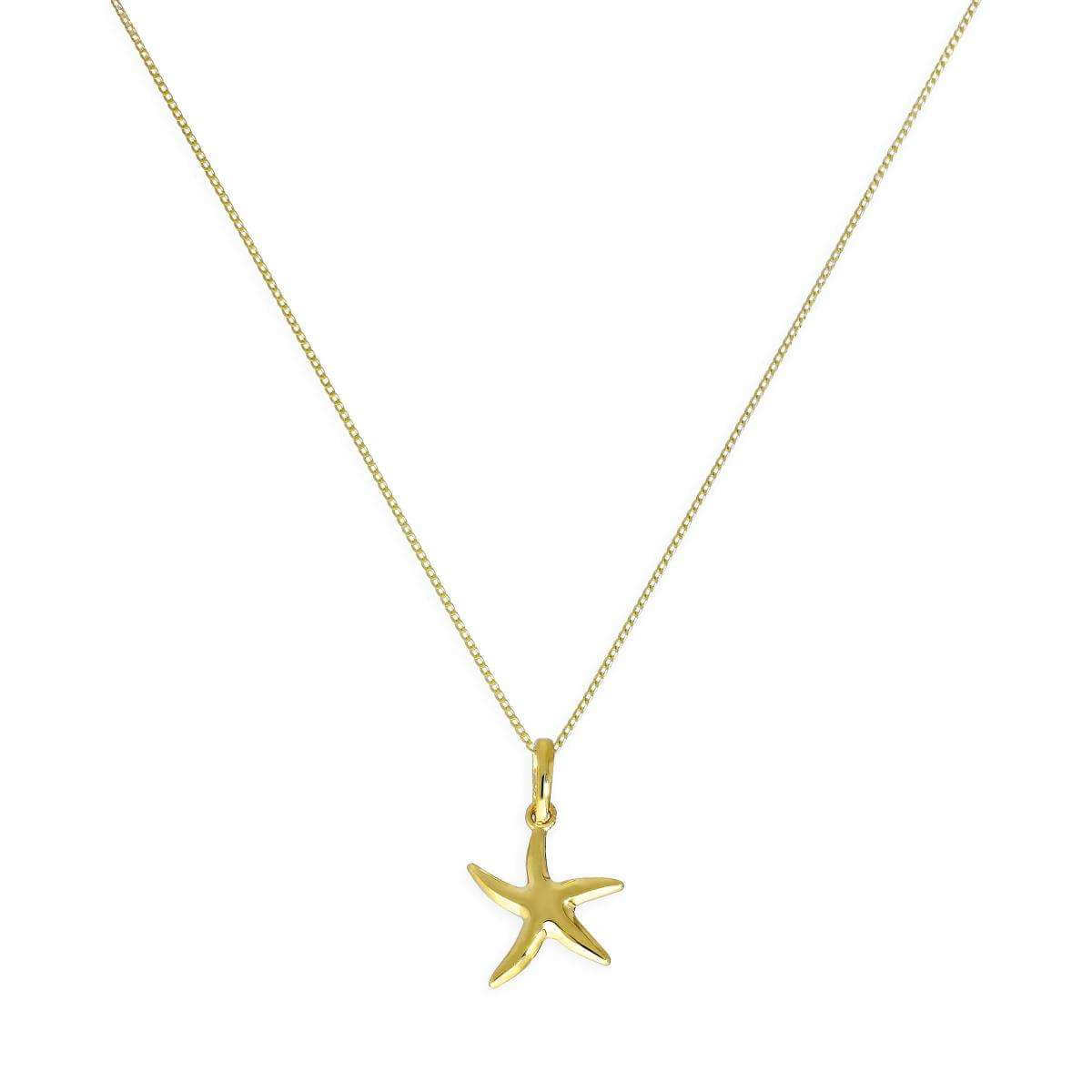 9ct Gold Starfish Pendant Necklace 16 - 20 Inches