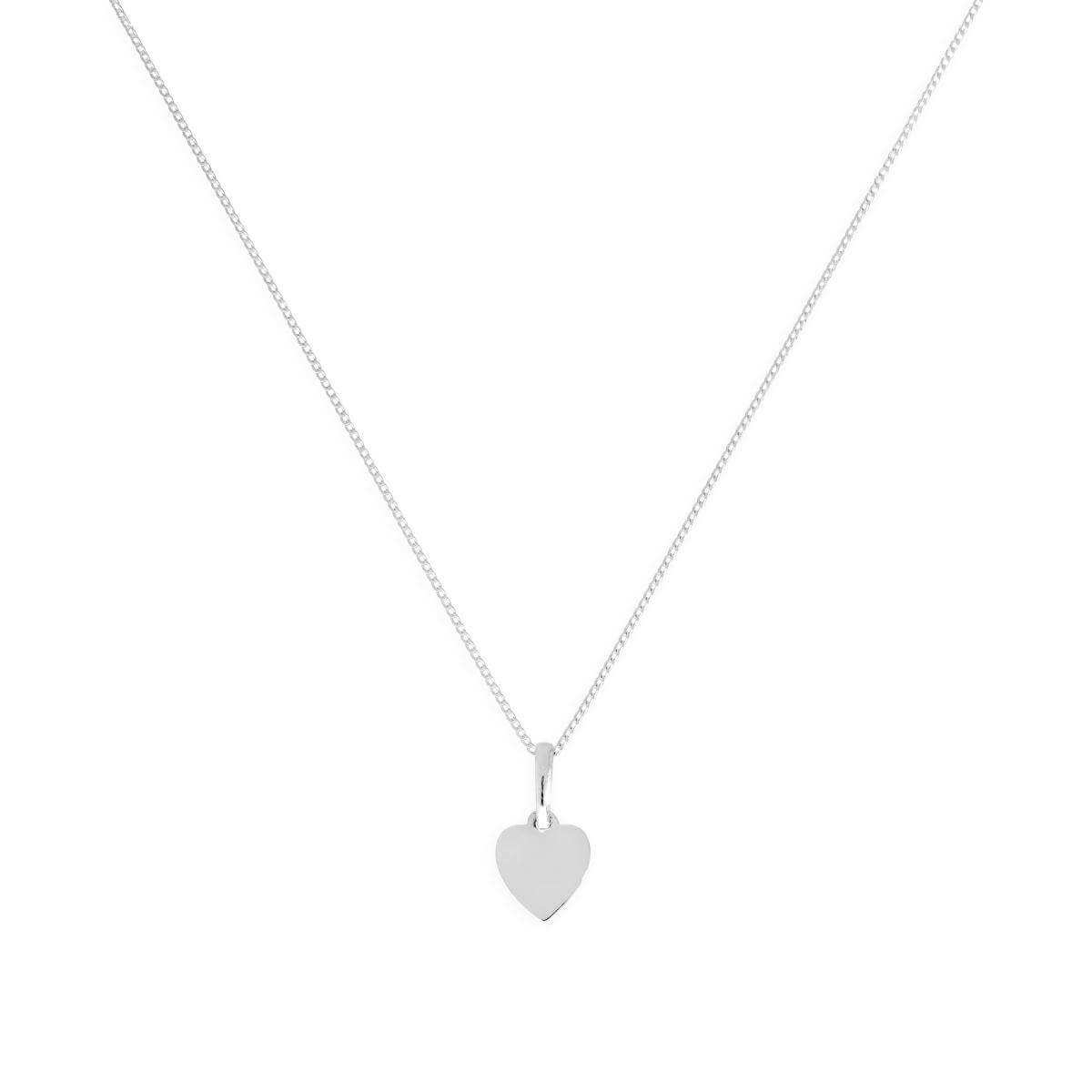 9ct White Gold Small Engravable Heart Pendant on Chain 16 - 20 Inches