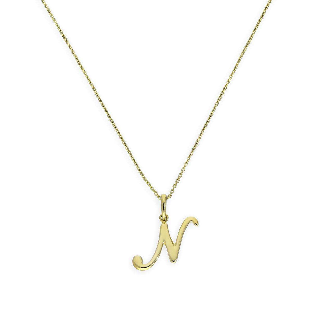 9ct Gold Fancy Calligraphy Script Letter N Pendant Necklace 16 - 20 Inches