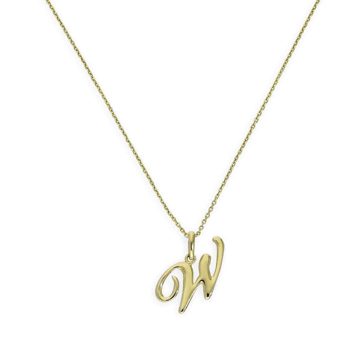 9ct Gold Fancy Calligraphy Script Letter W Pendant Necklace 16 - 20 Inches