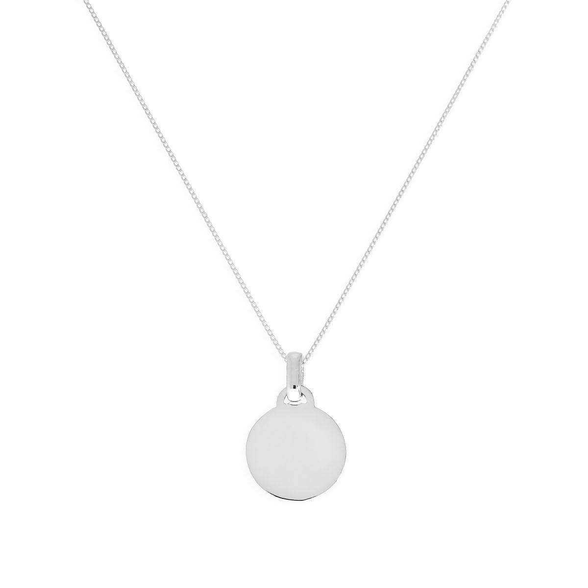9ct White Gold Small Engravable Circle Pendant Necklace 16 - 20 Inches