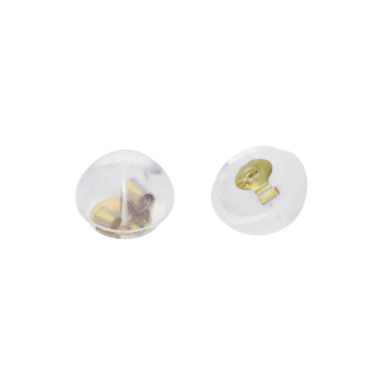 9ct Gold & Rubber Round Earrings Back Pairs