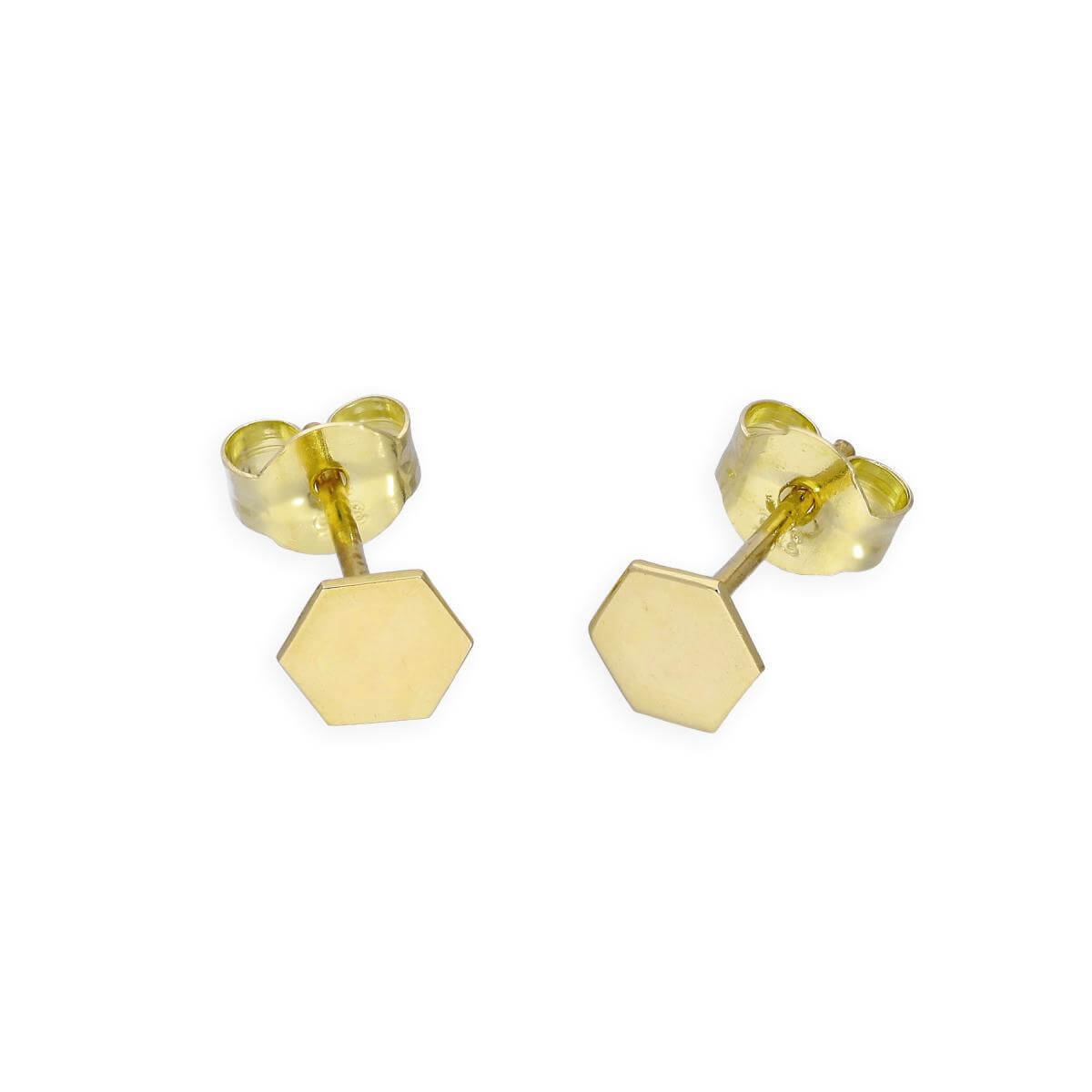 9ct Gold 4mm Hexagon Stud Earrings