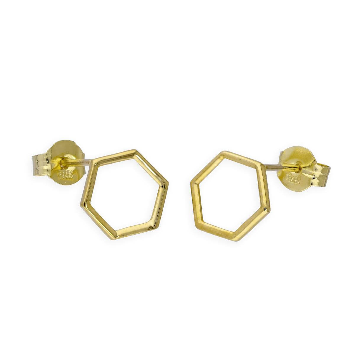9ct Gold 8mm Open Hexagon Stud Earrings