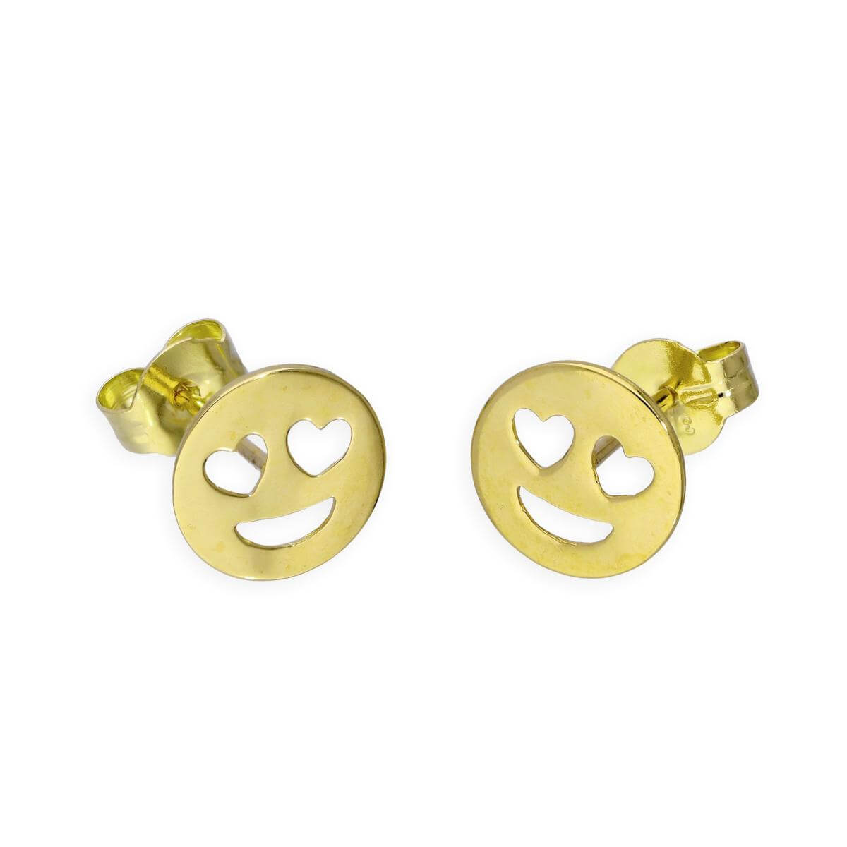 9ct Gold Heart Eyes Emoji Stud Earrings