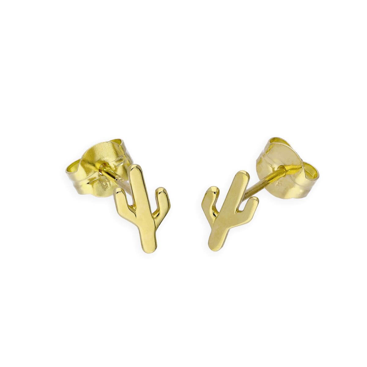 9ct Gold Cactus Stud Earrings