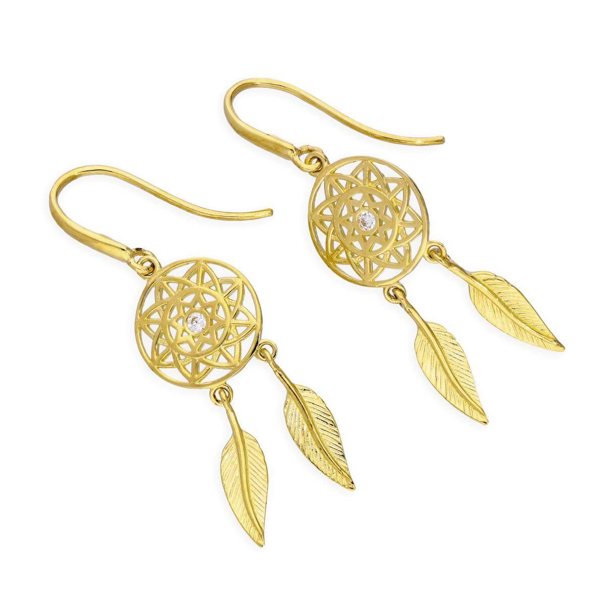 9ct Gold & Clear CZ Crystal Dreamcatcher Dangle Earrings
