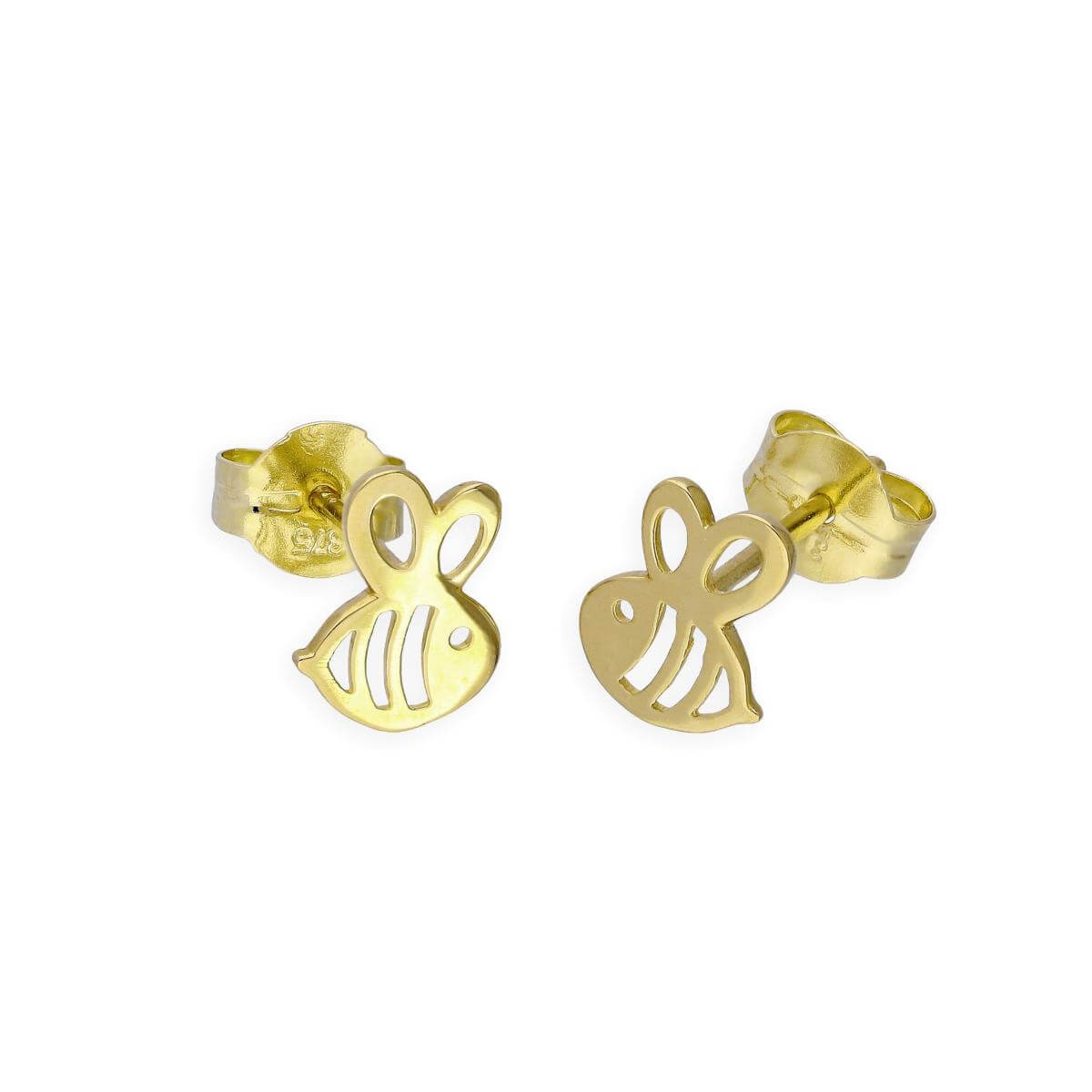 9ct Gold Cute Bumble Bee Stud Earrings
