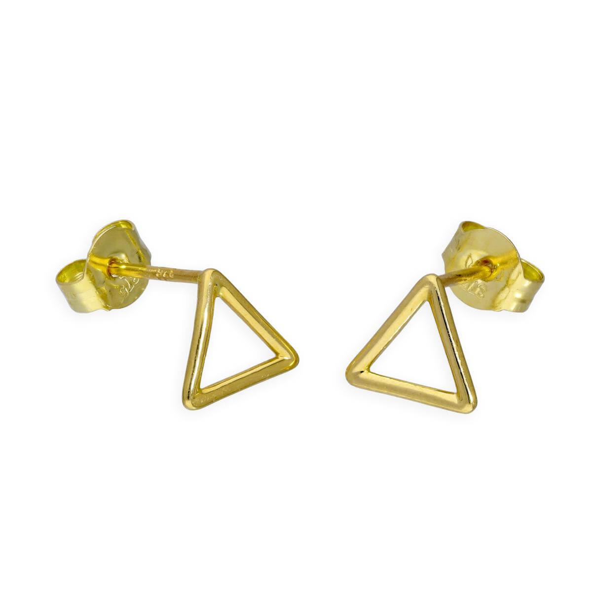 9ct Gold Open Triangle Stud Earrings