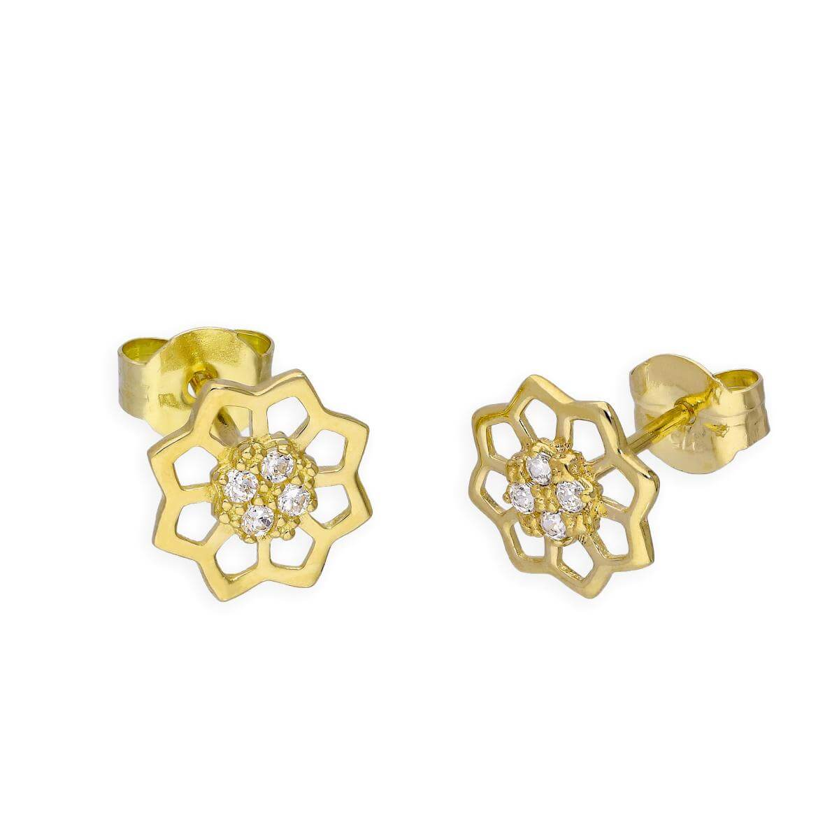 9ct Gold & Clear CZ Crystals Open Flower Stud Earrings