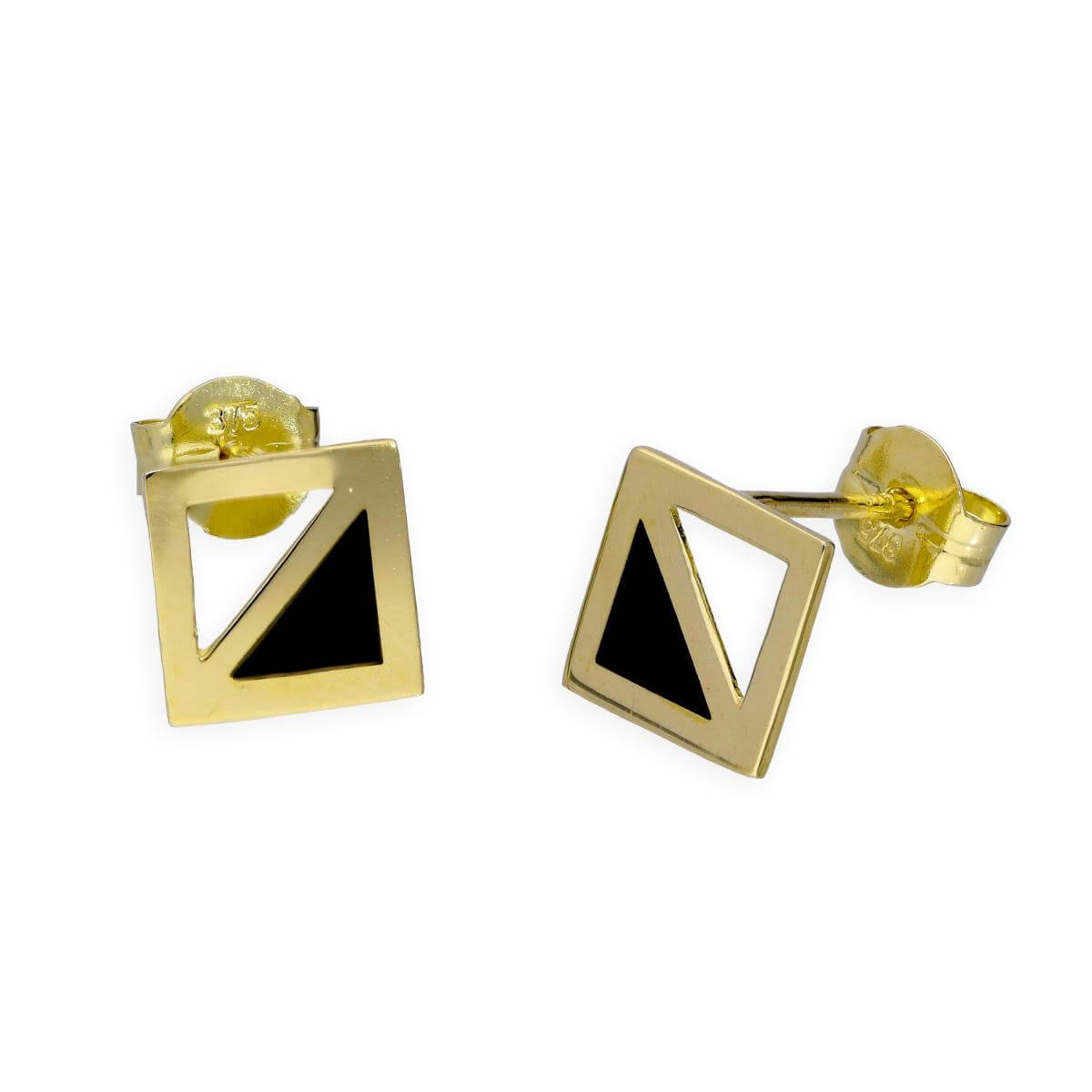 9ct Gold & Black Enamel Two Tone Square Stud Earrings