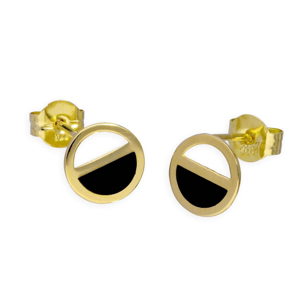 9ct Gold & Black Enamel Two Tone Circle Stud Earrings