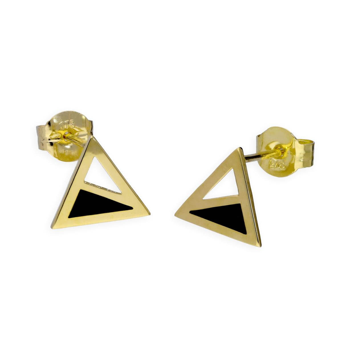 9ct Gold & Black Enamel Two Tone Triangle Stud Earrings