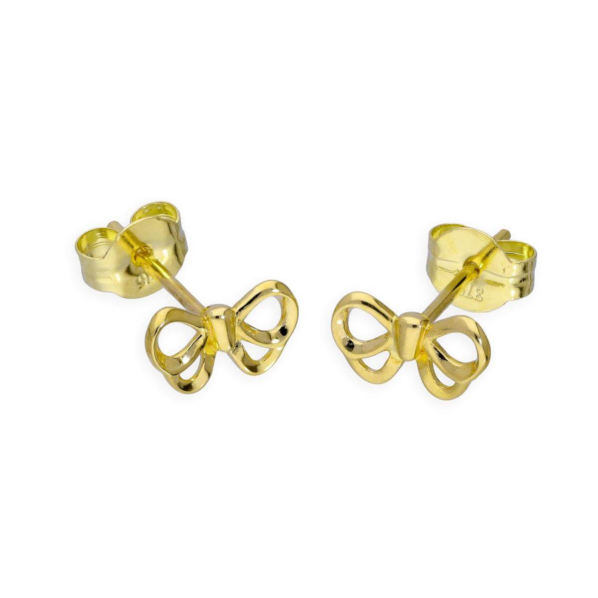 9ct Gold Ribbon Bow Stud Earrings