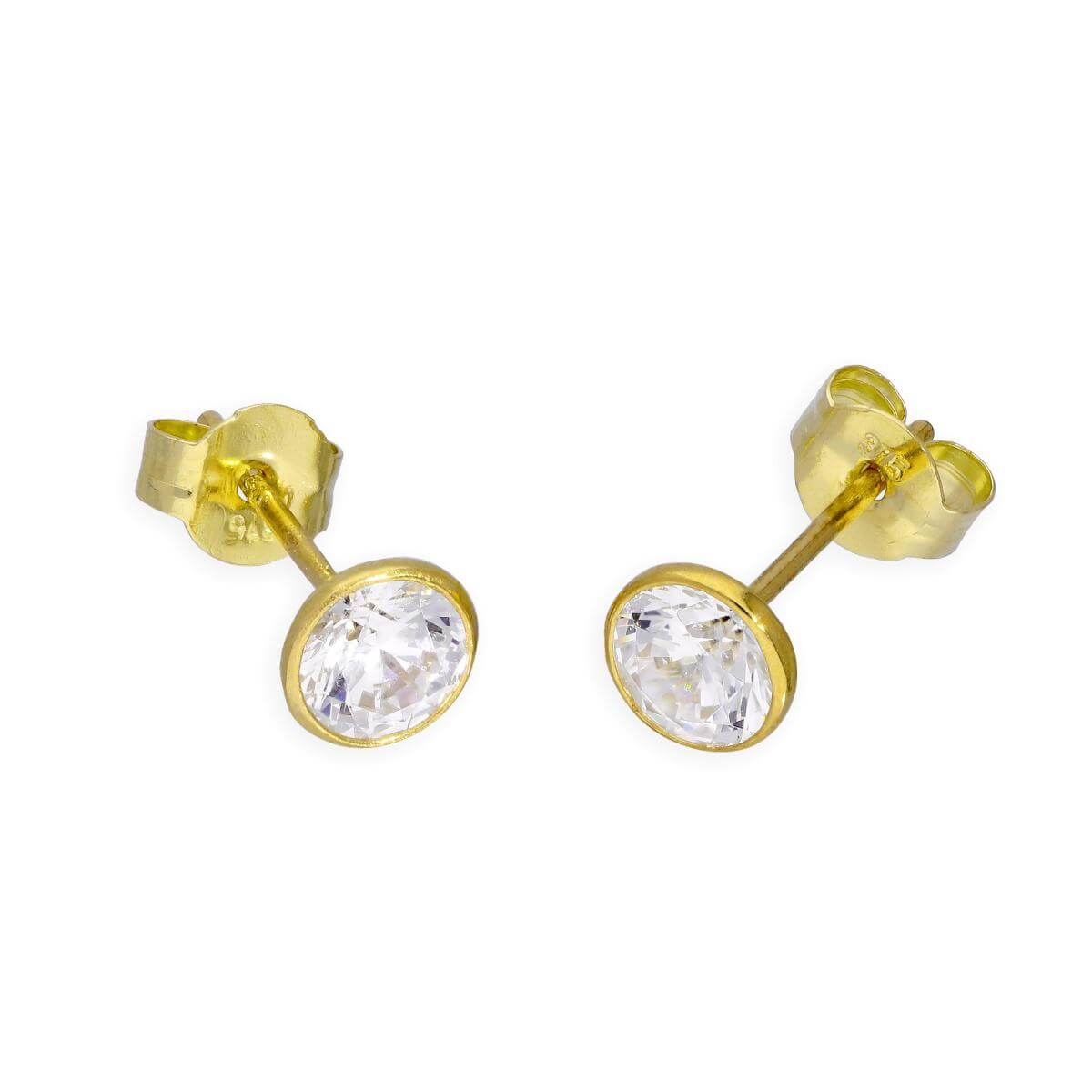 9ct Gold & Clear CZ Crystal 5mm Circle Stud Earrings