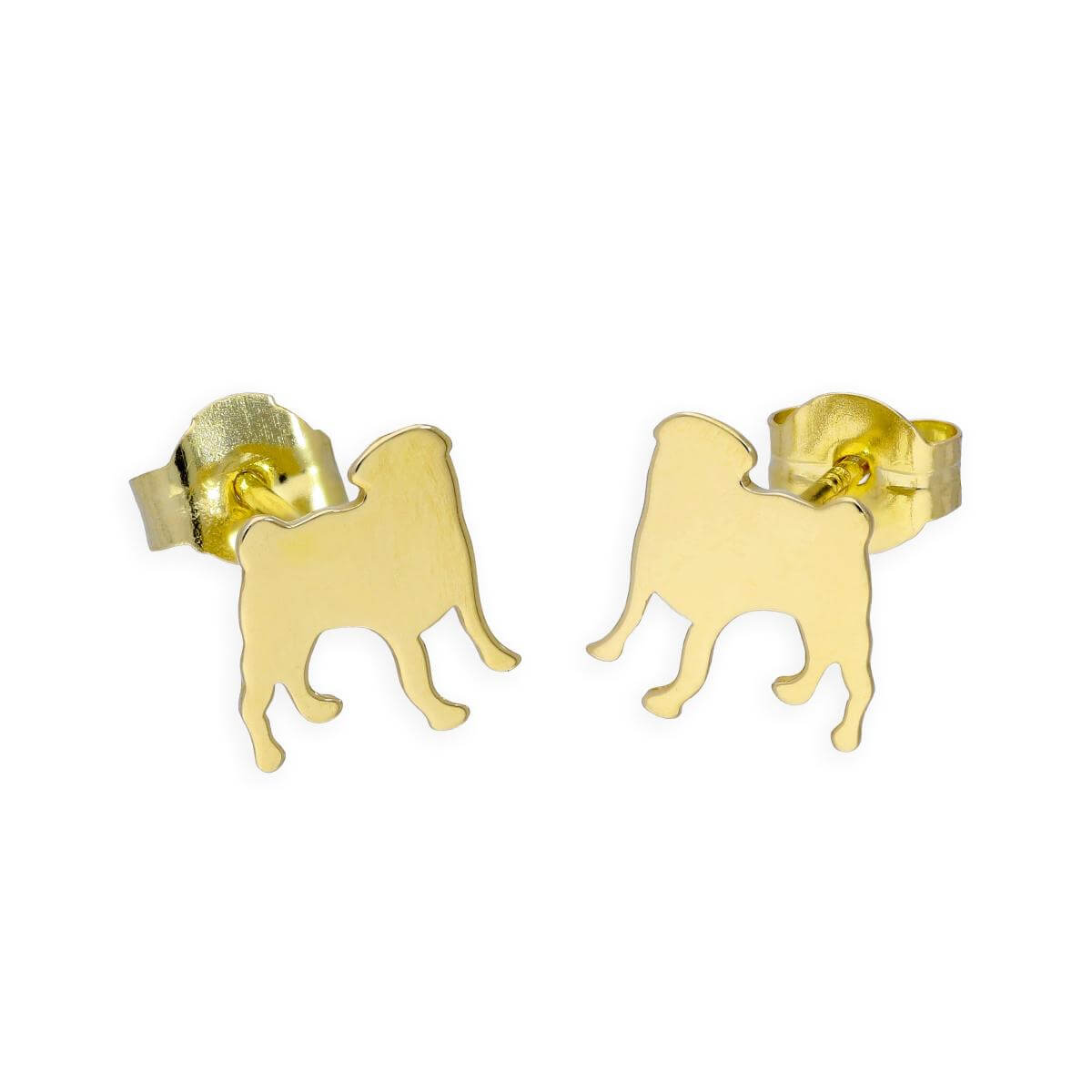 9ct Gold Rottweiler Stud Earrings