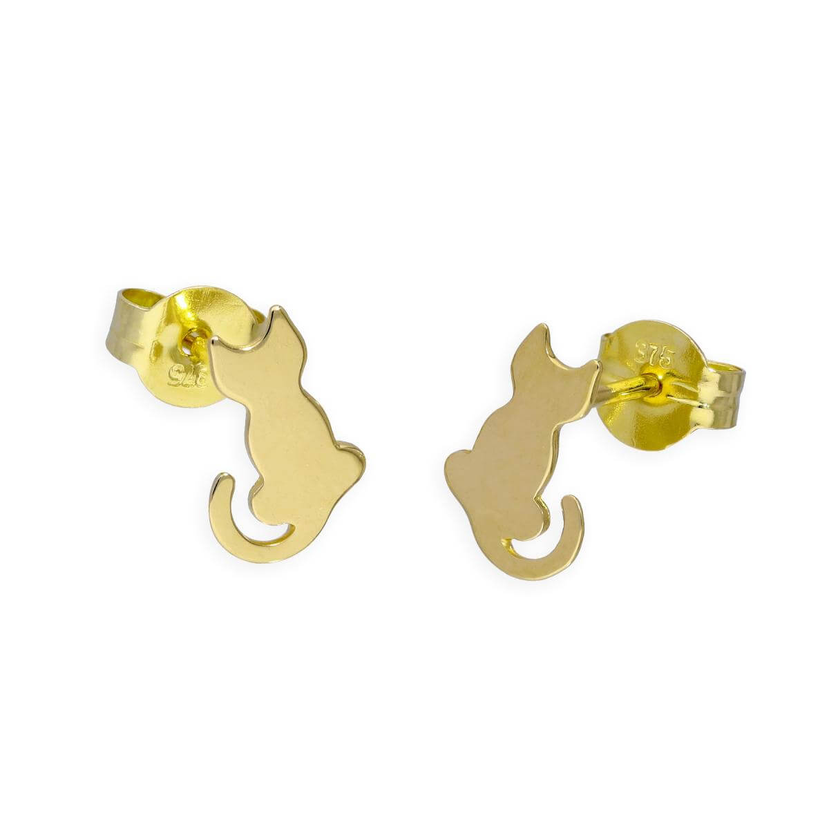 9ct Gold Sitting Cat Stud Earrings