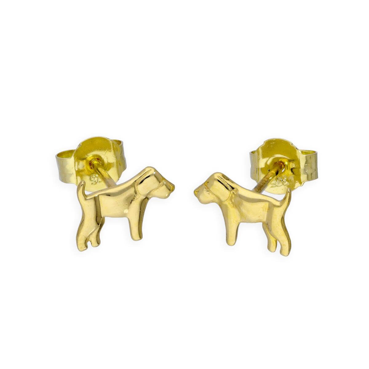 9ct Gold Labrador Stud Earrings