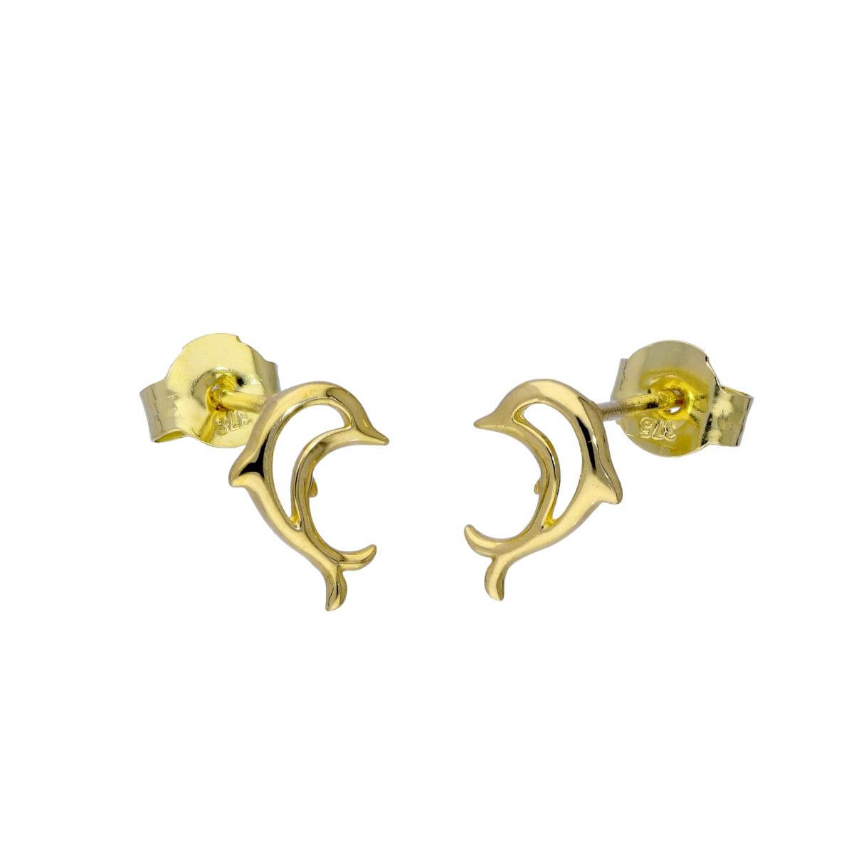 9ct Gold Open Jumping Dolphin Stud Earrings