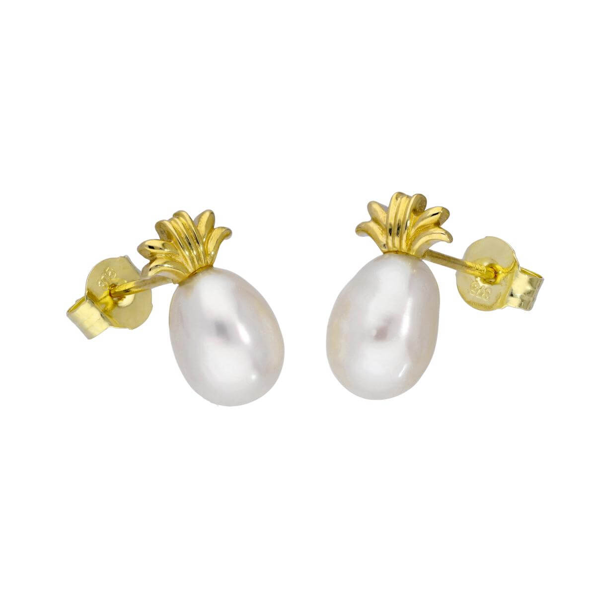 9ct Gold & 5mm Pearl Pineapple Stud Earrings