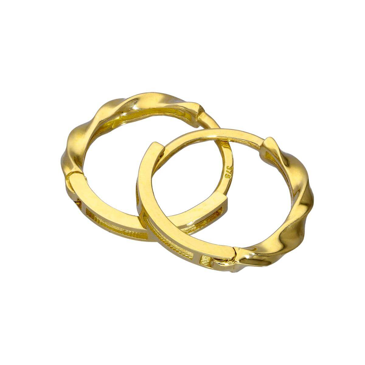 9ct Gold Half Twisted 13mm Hinged Huggie Hoops