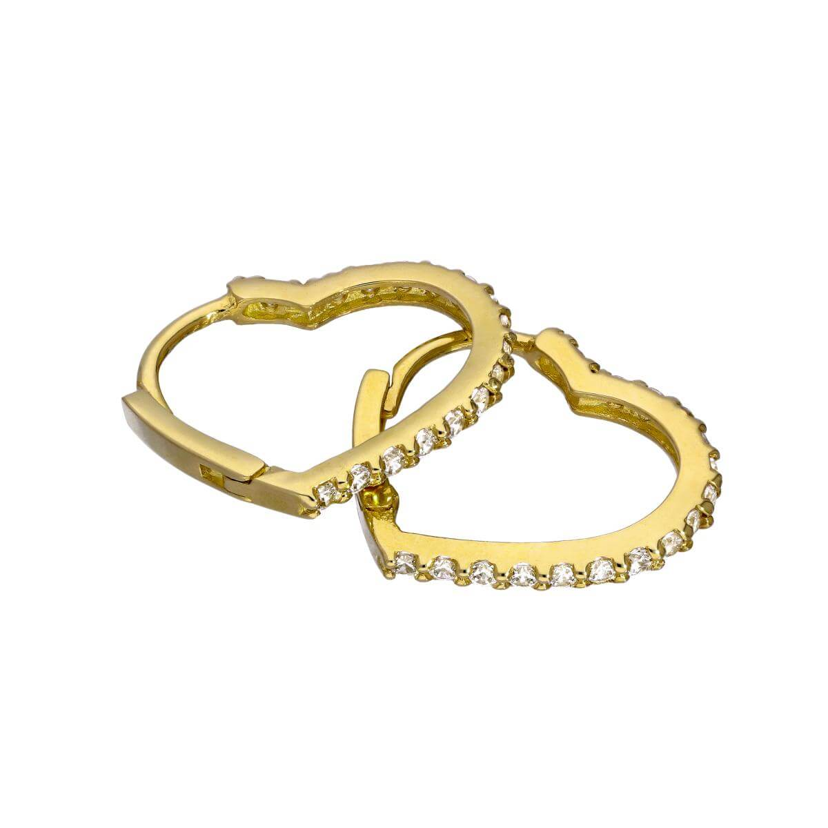 9ct Gold & Clear CZ Crystal Heart Hinged Huggie Hoops