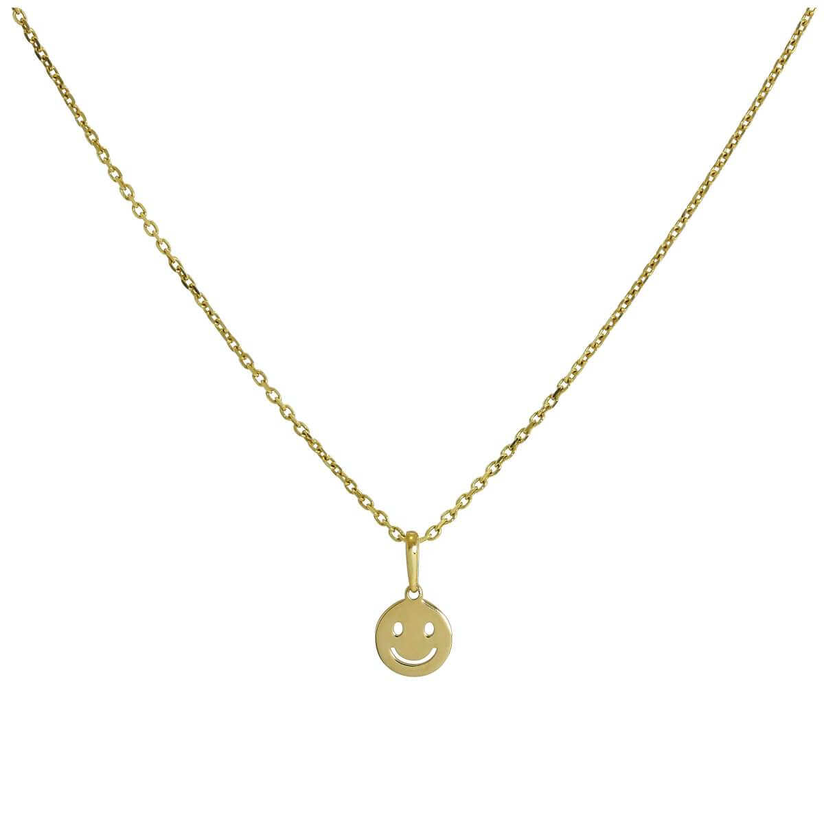 9ct Gold Smiley Face Pendant Necklace 16 - 20 Inches