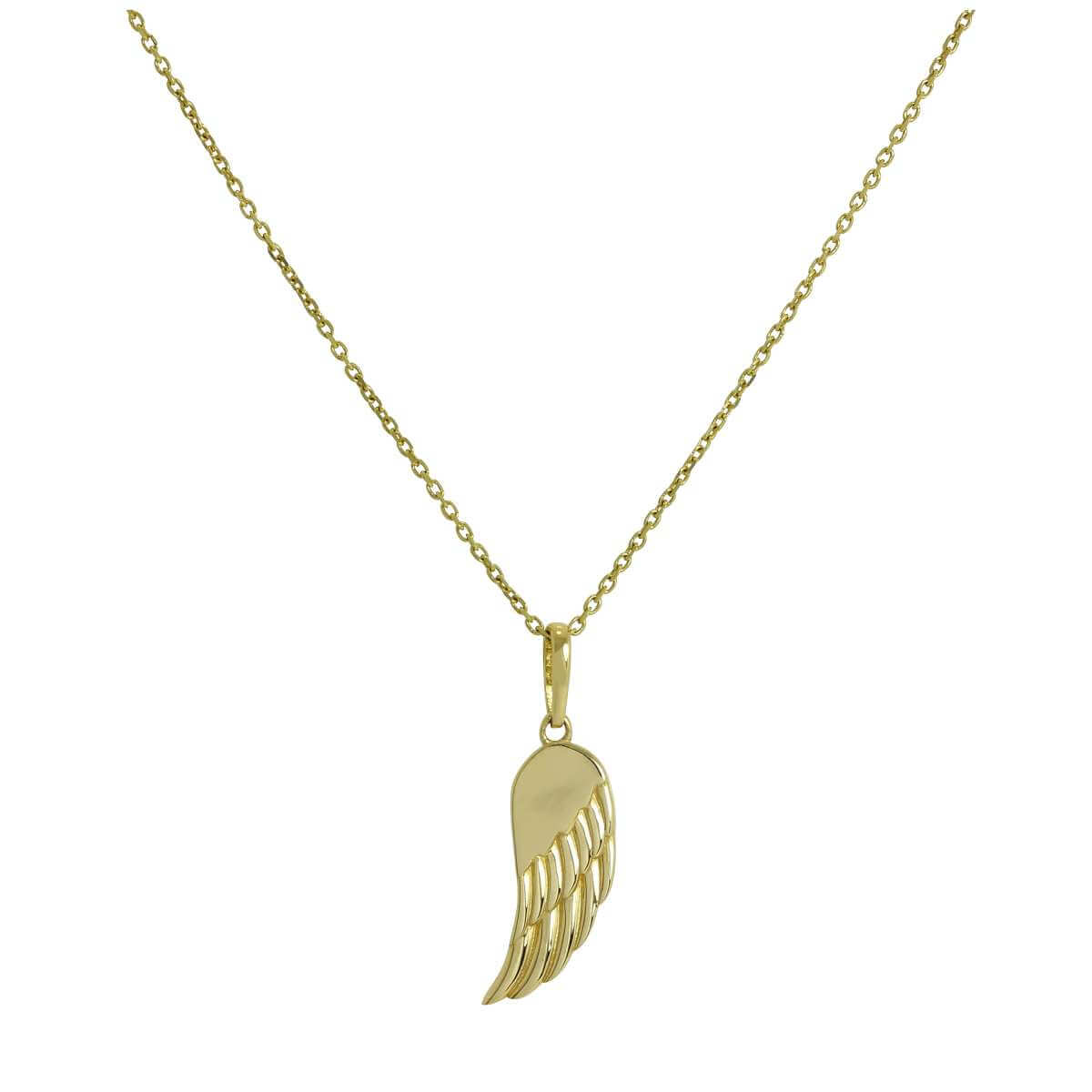 9ct Gold Angel Wing Pendant Necklace 16 - 20 Inches