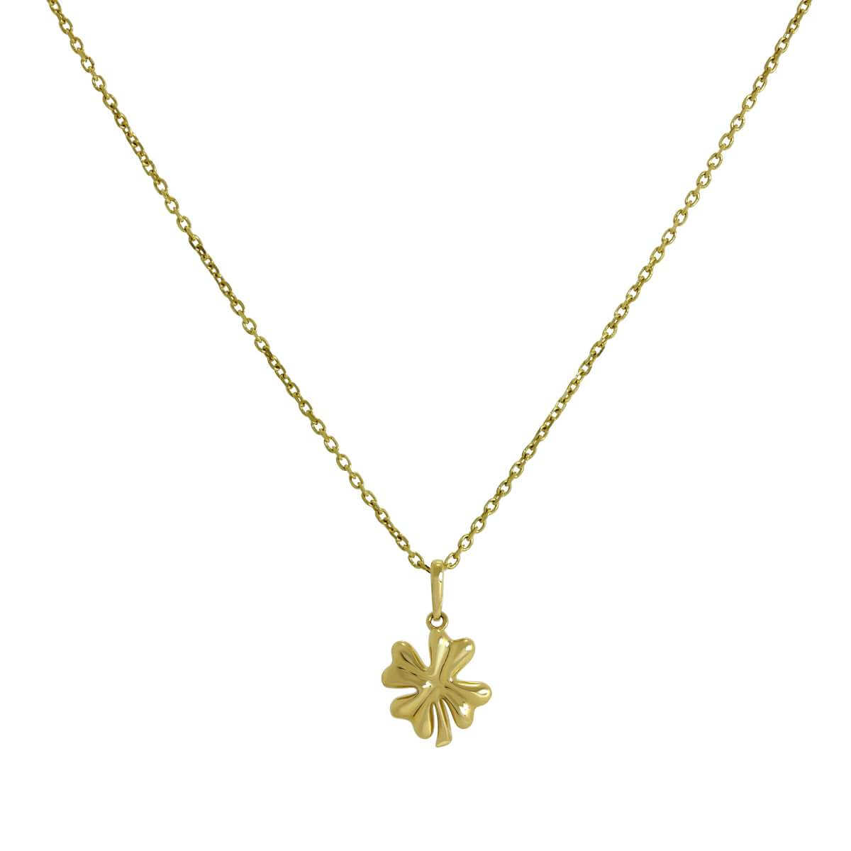 9ct Gold Four Leaf Clover Pendant on Chain 16 - 20 Inches