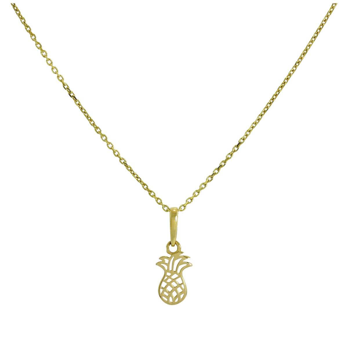 9ct Gold Pineapple Pendant with Cut Out Details on Chain 16 - 20 Inches