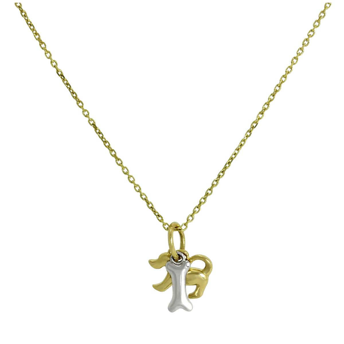 9ct Yellow Gold Dog Pendant w 9ct White Gold Bone on Chain 16 - 20 Inches