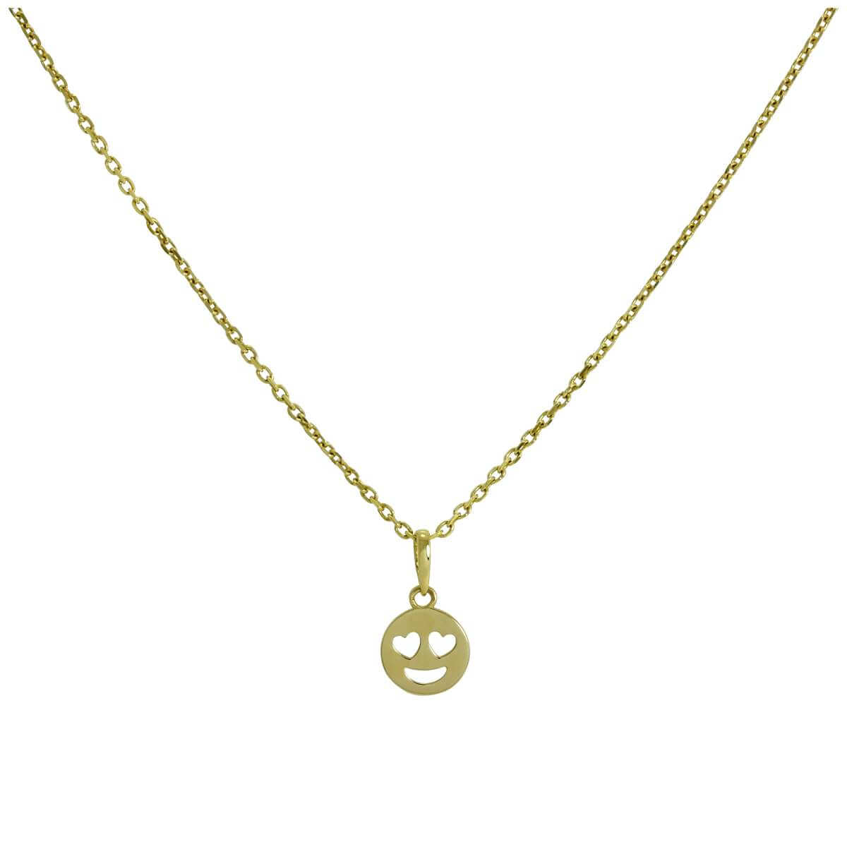 9ct Gold Heart Eyes Emoji Pendant on Chain 16 - 20 Inches