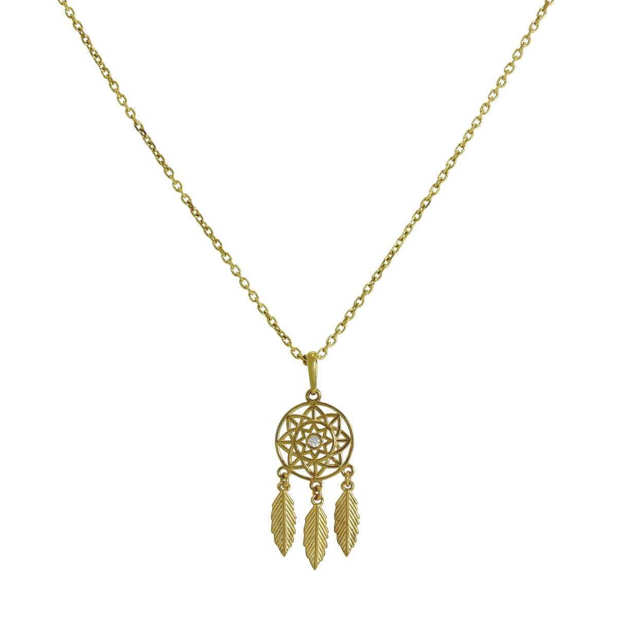 9ct Gold & Clear CZ Crystal Dreamcatcher Pendant Necklace 16 - 20 Inches