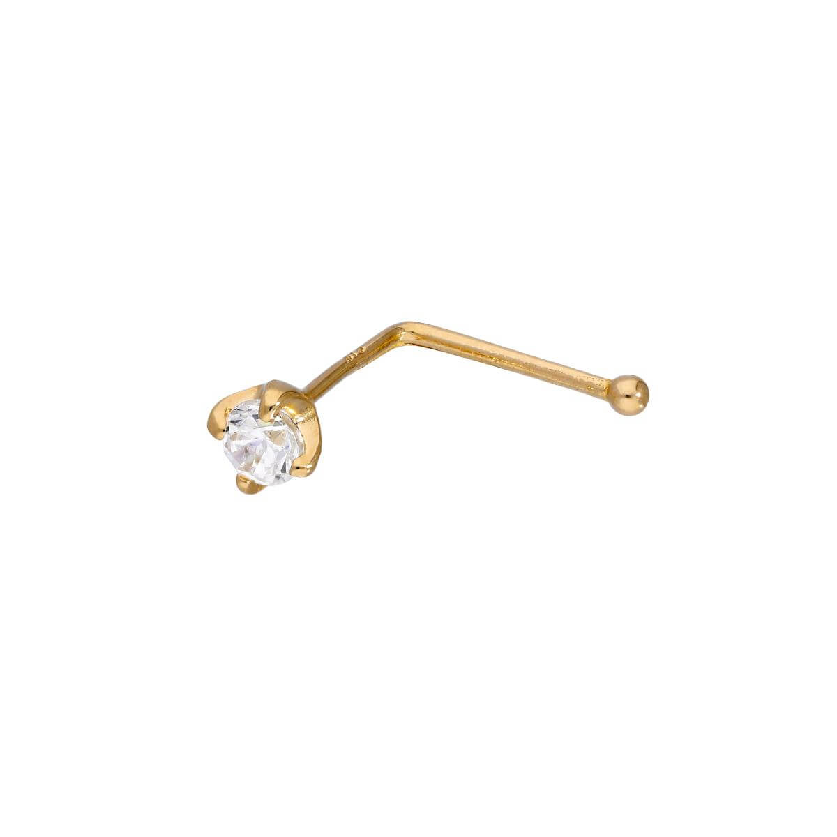 9ct Gold & 3mm Clear CZ Crystal 23Ga Nose Stud