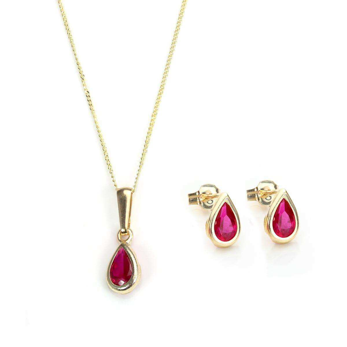 9ct Gold & July Birthstone Pendant & Stud Earrings Set