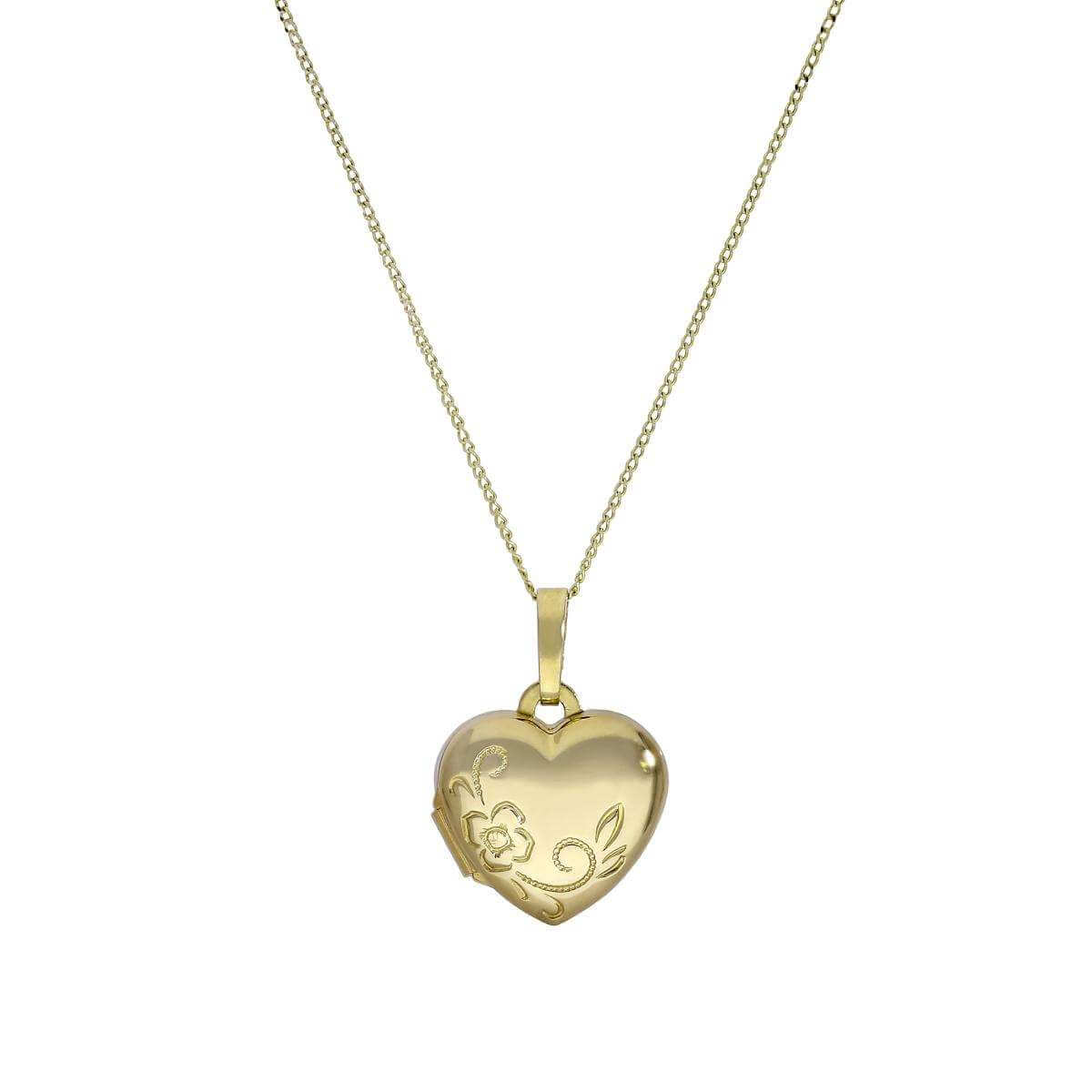 Small 9ct Gold Engravable Heart Locket with Floral Design on Chain 16-20 Inches