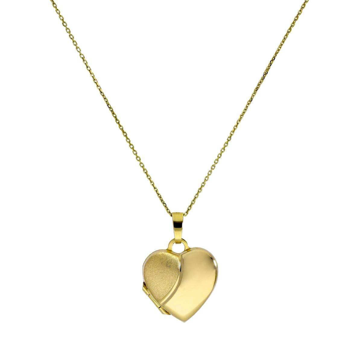 9ct Gold Engravable Two Tone Matt & Polished Heart Locket on Chain 16-20 Inches