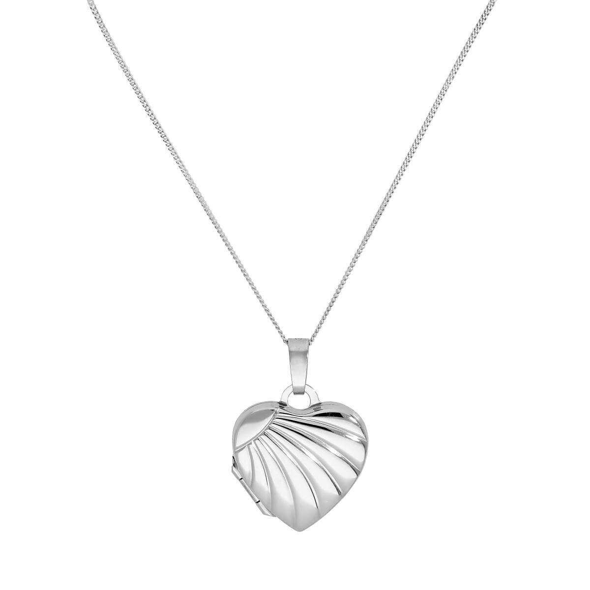 9ct White Gold Heart Locket on Chain with Rays of Sunlight Design 16 - 18 Inches