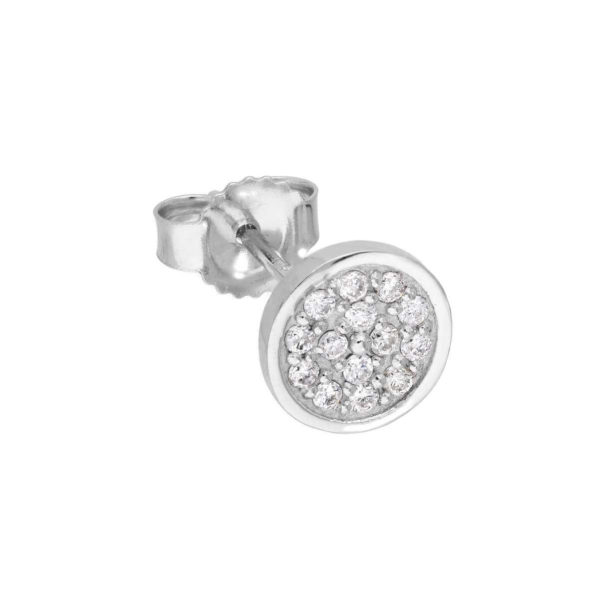 9ct White Gold 0.085ct Diamond Round Pave Single Stud Earring