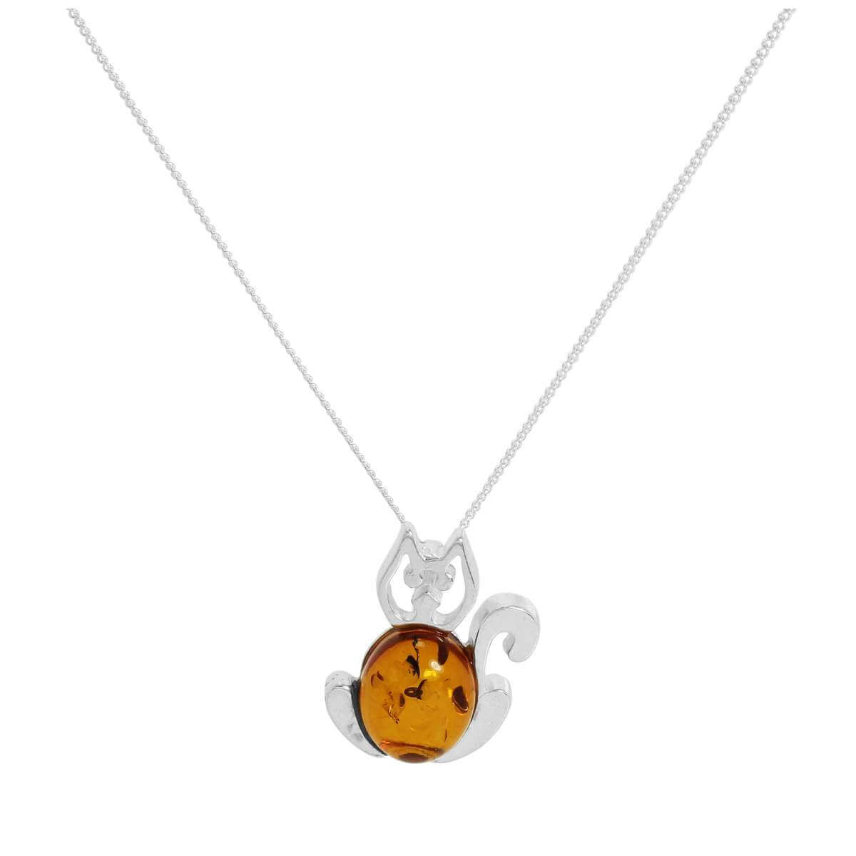 Sterling Silver & Baltic Amber Cat Outline Necklace 16-18 Inch Chain