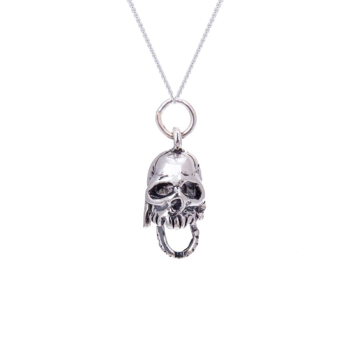 Sterling Silver Skull With Moveable Jaw Necklace