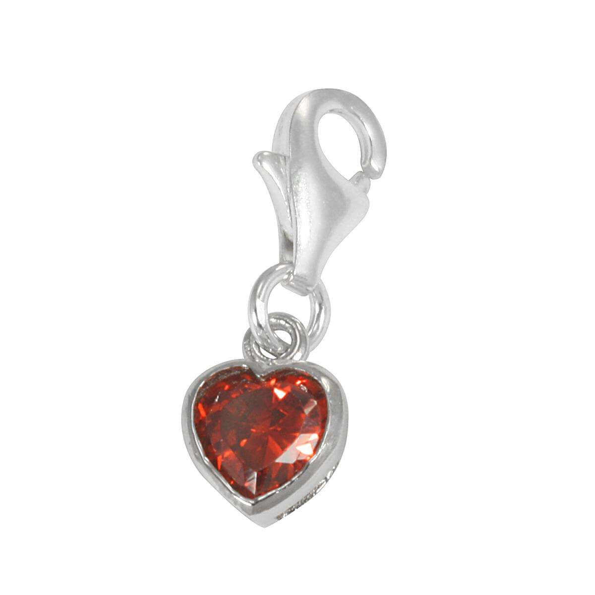 Sterling Silver Siam Red Heart Crystal Clip on Charm