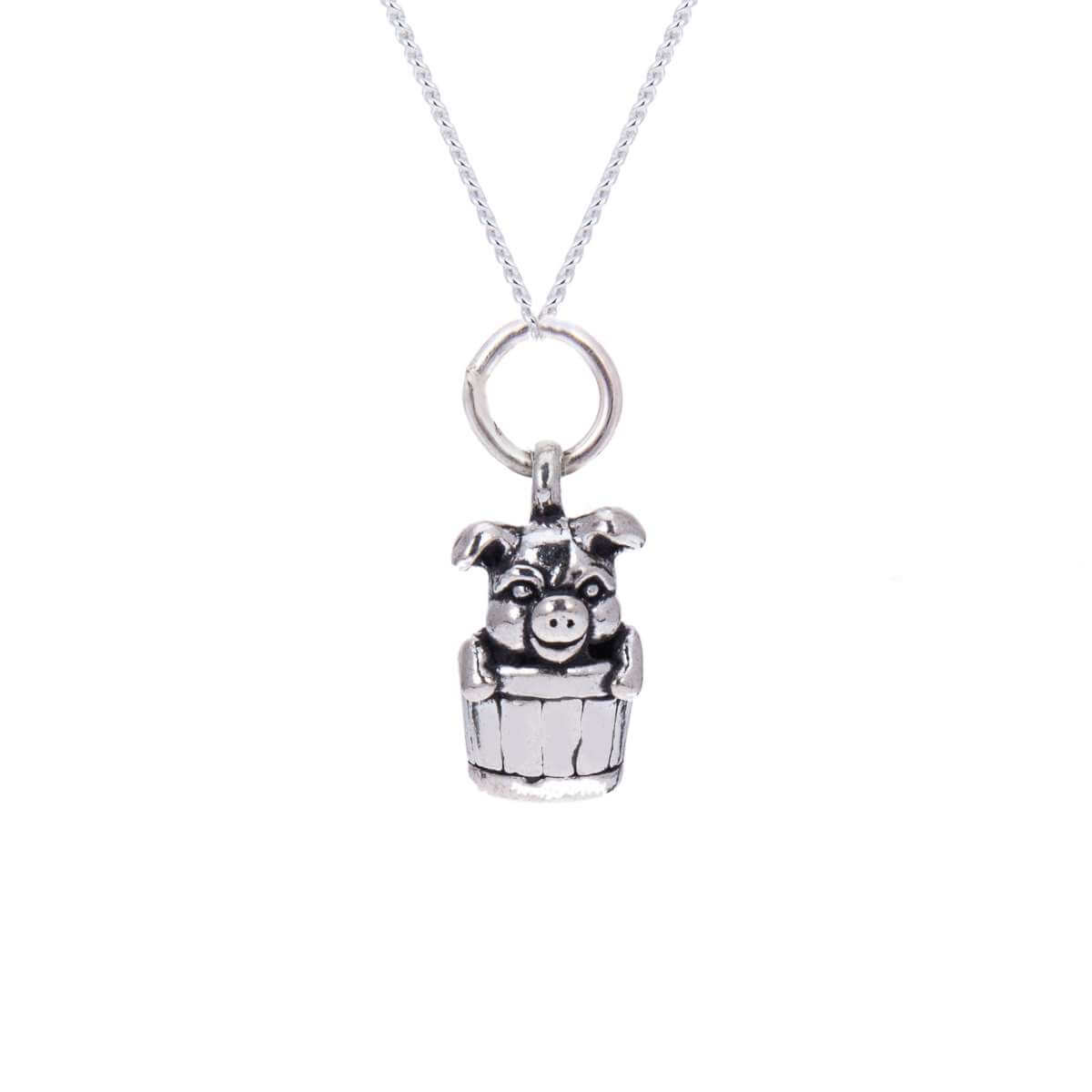 Sterling Silver 3D Pig in Barrel Necklace