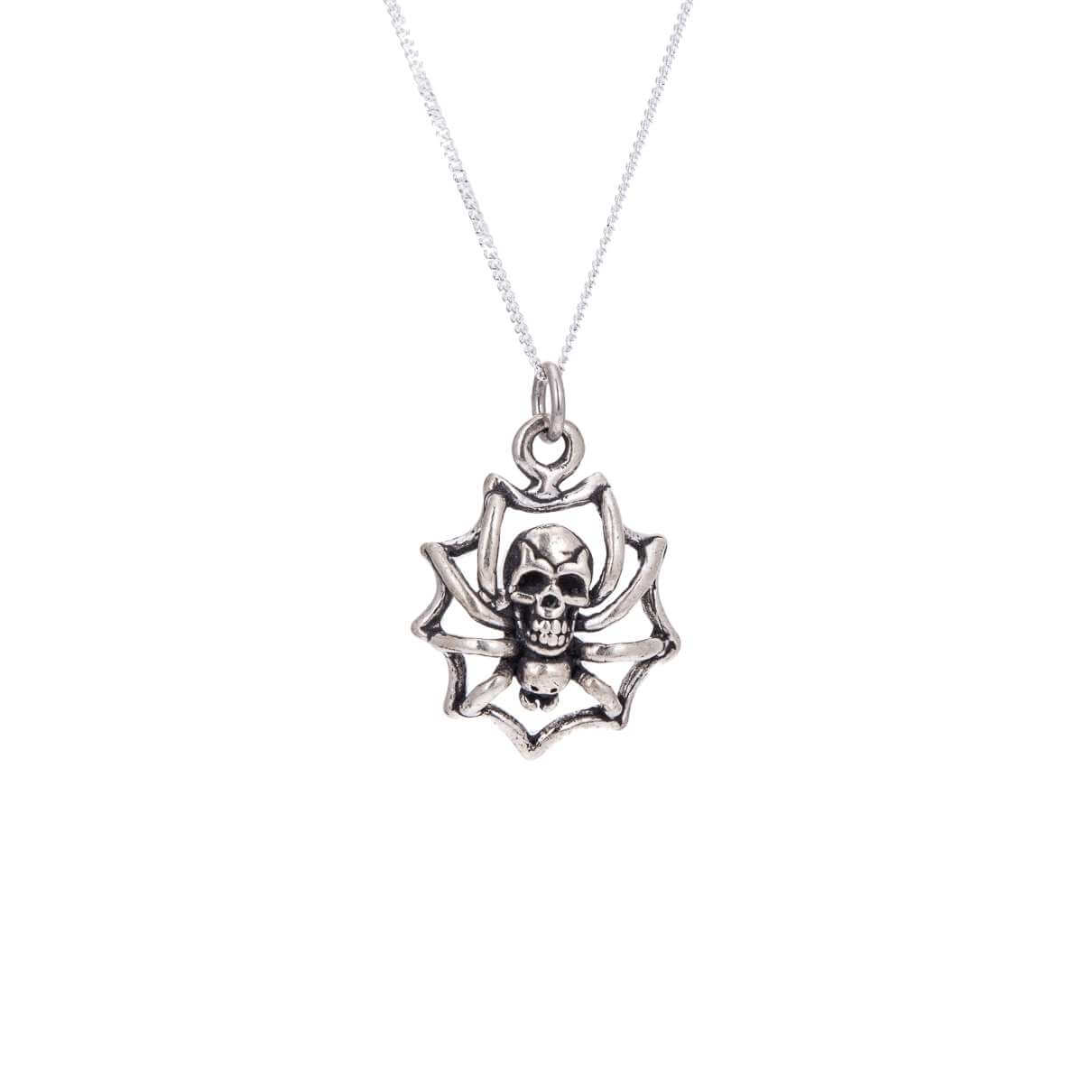Sterling Silver Skull-Backed Spider Necklace