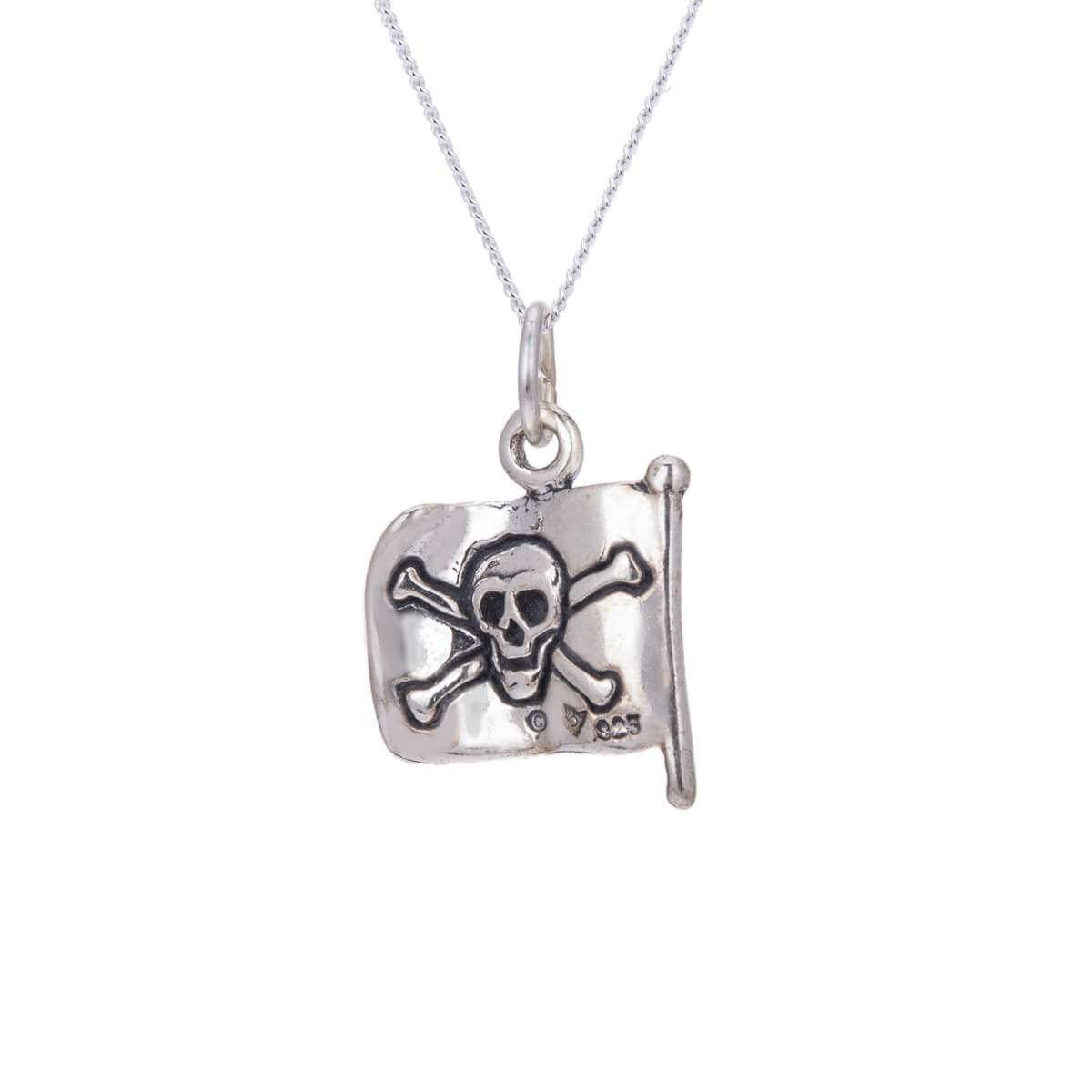 Sterling Silver Pirate Flag Necklace